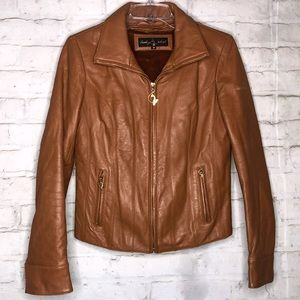 Baby Phat Leather Caramel/Brown Coat/Jacket Size M